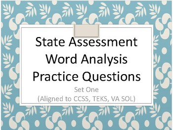 SOL Word Analysis Practice Questions Set One