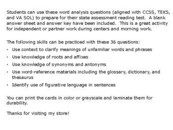 SOL Word Analysis Practice Questions Set Two