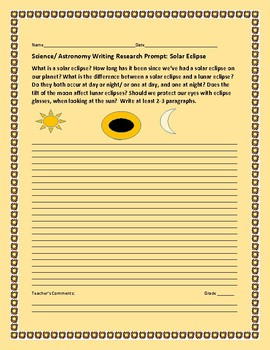 SOLAR ECLIPSE: A SCIENCE/ ASTRONOMY WRITING RESEARCH PROMPT