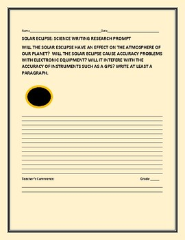 SOLAR ECLIPSE:WHAT ARE THE IMPLICATIONS FOR OUR PLANET?: A SCIENCE PROMPT