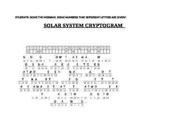 SOLAR SYSTEM CRYPTOGRAM