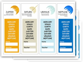 SOLAR SYSTEM Planets Bookmarks