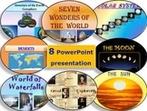 Solar  System - Sun Moon Earth Deserts 7 Wonders - Back to