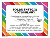 STEM Solar System Visual Vocabulary Cards and Activities