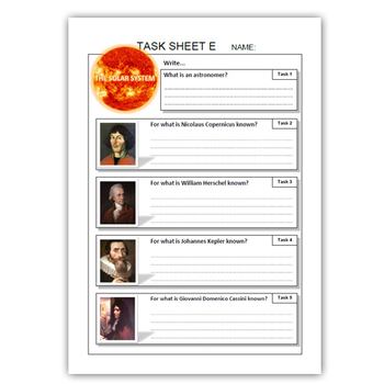 SOLAR SYSTEM task sheets ( The Sun, Planets, Astronomers )