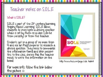 S.O.L.E (Self, Organised/Organized, Learning, Environments) pack