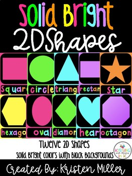 SOLID BRIGHT THEME Classroom Decor Posters- 2D Shapes
