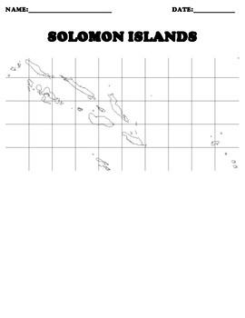 SOLOMON ISLANDS Coordinate Grid Map Blank