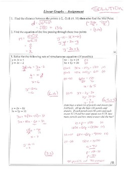 SOLUTIONS for Year 10 Coordinate Geometry & Simultaneous Equations Test