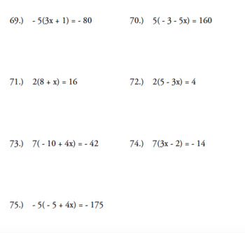 SOLVE FOR X PACKET (75 probems)