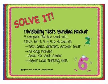 SOLVE IT! Divisibility Tests BUNDLED Task Card Sets for 2,3,4,5,6,9,10