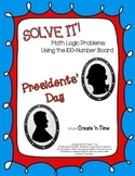 SOLVE IT! Presidents Day Math Logic Problems with 100-number Boards