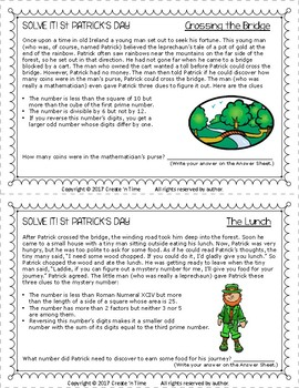 SOLVE IT! St Patrick Math Logic Problems Using the 100-number Board