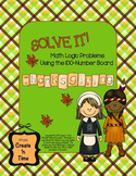 SOLVE IT! Thanksgiving Math Logic Problems Using the 100-number Board