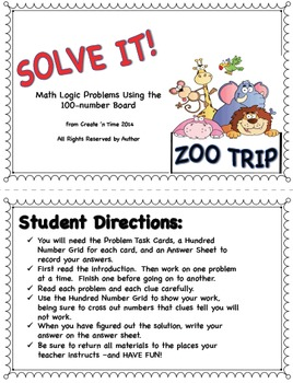 SOLVE IT! ZOO TRIP Math Logic Problems Using 100-number Board-Independent Work