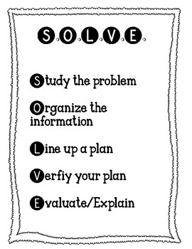 SOLVE math strategy workmat