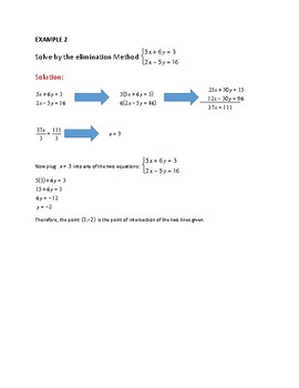 SOLVING A SYSTEM OF LINEAR EQUATIONS BY USING THE ELIMINATION METHOD