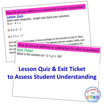 SOLVING ADDITION & SUBTRACT INEQUALITIES PowerPoint Mini-Lesson & Practice