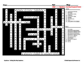 Solving One Step Equations Crossword Puzzle