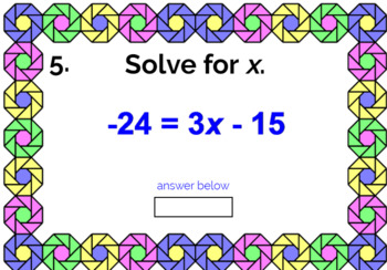 "SOLVING EQUATIONS FREEBIE: ""DIGITAL"" BOOM CARDS (20 TASK CARDS)"