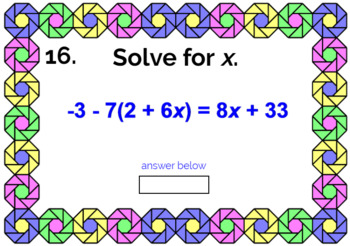 "SOLVING EQUATIONS FREEBIE: ""DIGITAL"" BOOM CARDS (20 TASK CARDS)"