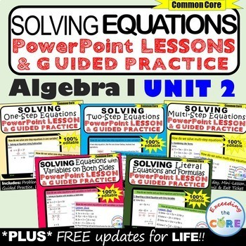 SOLVING EQUATIONS Mini-Lessons & Guided Practice (Algebra 1 Curriculum)