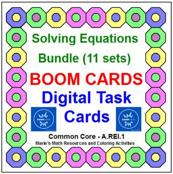"""SOLVING EQUATIONS - BUNDLE: """"DIGITAL"""" BOOM CARDS (180 TASK CARDS)"""