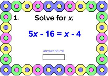 """SOLVING EQUATIONS 12 SETS BUNDLE: """"DIGITAL"""" BOOM CARDS (410 TASK CARDS)"""