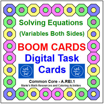 "SOLVING EQUATIONS VARIABLES BOTH SIDES: ""DIGITAL"" BOOM CARDS (60 TASK CARDS)"