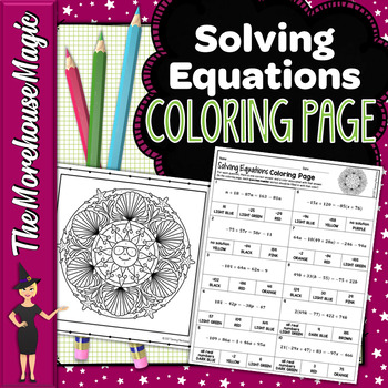 SOLVING EQUATIONS WITH VARIABLES ON BOTH SIDES MATH COLOR BY NUMBER, QUIZ