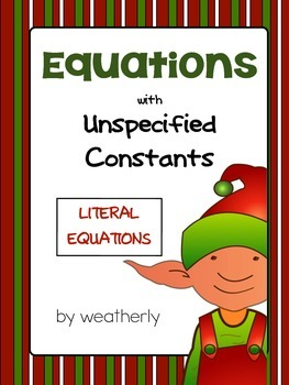 SOLVING EQUATIONS with Unspecified Constants