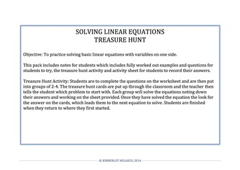 SOLVING LINEAR EQUATIONS TREASURE HUNT