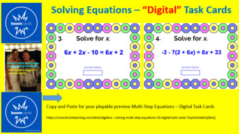 "SOLVING MULTI-STEP EQUATIONS: ""DIGITAL"" BOOM CARDS (60 TASK CARDS)"