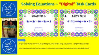 "SOLVING MULTI-STEP EQUATIONS: ""DIGITAL"" BOOM CARDS (60 TASK CARDS)"