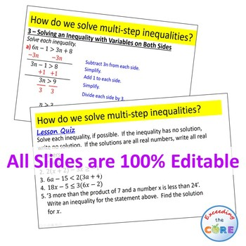 Solving Multi Step Inequalities Powerpoint Mini Lesson Practice