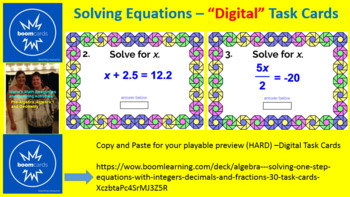 "SOLVING ONE-STEP EQUATIONS: ""DIGITAL"" BOOM CARDS (80 TASK CARDS)"