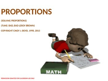 SOLVING PROPORTIONS SONG
