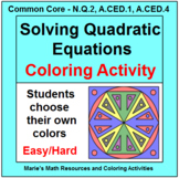 SOLVING QUADRATIC EQUATIONS:  COLORING ACTIVITY (DIFFERENTIATED)