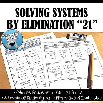 """SOLVING SYSTEMS OF EQUATIONS BY ELIMINATION """"21"""""""