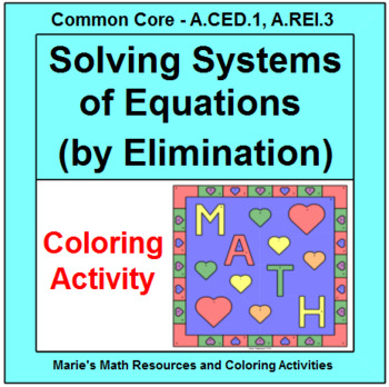 SOLVING SYSTEMS OF EQUATIONS BY ELIMINATION:  COLORING ACTIVITY # 2