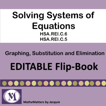 SOLVING SYSTEMS OF EQUATIONS {EDITABLE FLIP BOOK} HSA.REI.