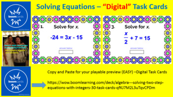 """SOLVING TWO-STEP EQUATIONS: """"DIGITAL"""" BOOM CARDS (60 TASK CARDS)"""