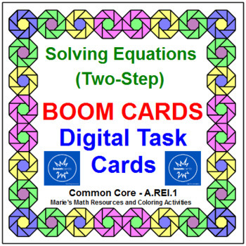 """SOLVING TWO-STEP EQUATIONS: """"DIGITAL"""" BOOM CARDS (80 TASK CARDS)"""