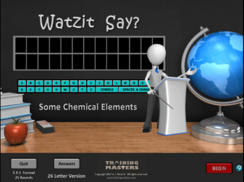 SOME CHEMICAL ELEMENTS - A Watzit Say? Game  (Evaluation Version)