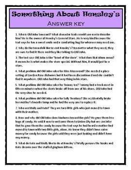 SOMETHING ABOUT HENSLEY'S by Patricia Polacco - Text Evidence & Vocabulary