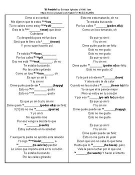 SONG El Perdon Spanish Cloze Activity (Stem Changers / Boot Verbs)