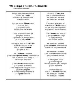 SONG Me Dedique a Perderte (Pretérito v. Imperfecto) Pret. v. Imp. Cloze Spanish
