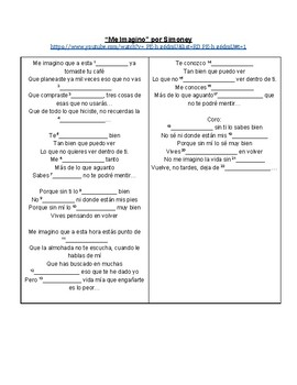 SONG Me Imagino Spanish Cloze Activity (Saber & Conocer)