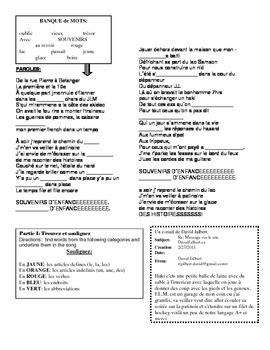 """SONG PACKET: David Jalbert """"Souvenirs d'Enfance"""" Practice Passe Compose"""