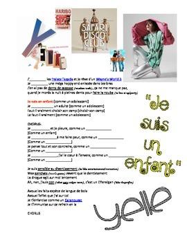 "SONG PACKET: Yelle ""Comme Un Enfant"". Practice Present Tense regular -ER verbs."